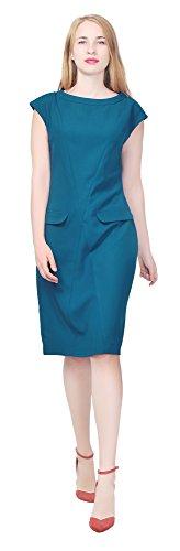 Marycrafts Women's Hi Neck Vintage 1960s Shift Knee Dress W Pockets 18 Dark Cyan 60s Shift Dress
