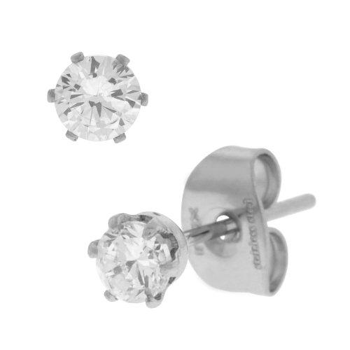 Inox Jewelry Women's Stainless Steel Clear 3mm Studs Earrings from INOX