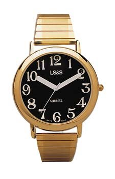 MedValue Jumbo Low Vision Watch Black face - gold color, expansion band