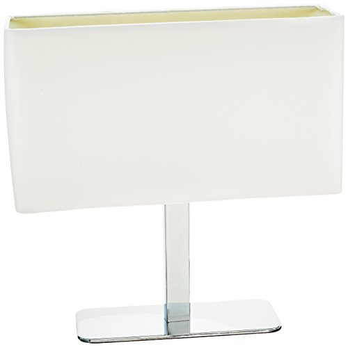 """Price comparison product image Lite Source LS-21797C / WHT Levon Table Lamp with White Fabric Shade,  15"""" x 15"""" x 15"""",  Chrome"""