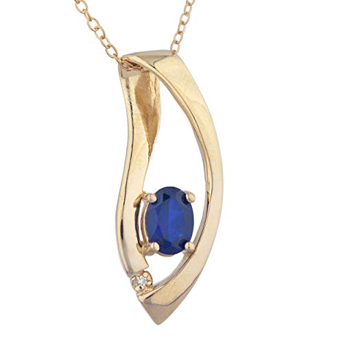 1 Ct Created Blue Sapphire & Diamond Oval Design Pendant Necklace 14Kt Yellow Gold Rose Gold Silver