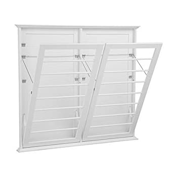Laundry Room Space Saving Wall Mount Clothes Clothing Drying Rack Hanger  Double Wide Classic White 46