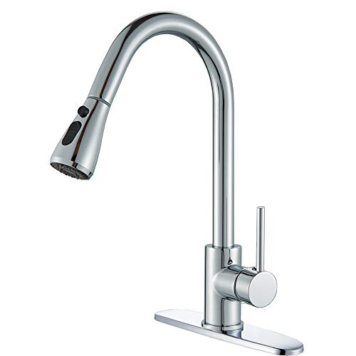 (Votamuta Single Handle High Arc Pull out Kitchen Faucet,Single Level Stainless Steel Kitchen Sink Faucets with Pull down Sprayer)