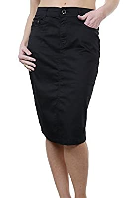 icecoolfashion Ice (2516-1) Plus Size Stretch Chino Sheen Jeans Style Skirt Black