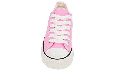 Canvas Plimsole Pink Lace TOP' 6 Toe 'LOW Rubber Light Trainers Women's Up qwOx1ttC