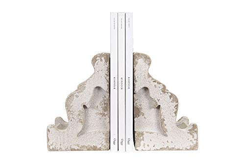 - Creative Co-op Distressed White Corbel Shaped Bookends (Set of 2 Pieces)