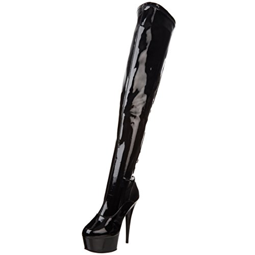 Summitfashions 6 Inch Sexy Platform High Heeled Stretch Thigh High Boot Side Zip Size: 9 Colors: BlackPatent