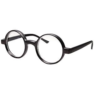 Kids Childrens Wizard Nerd Round Black Frame Glasses, Clear Lens (Age 4-12)