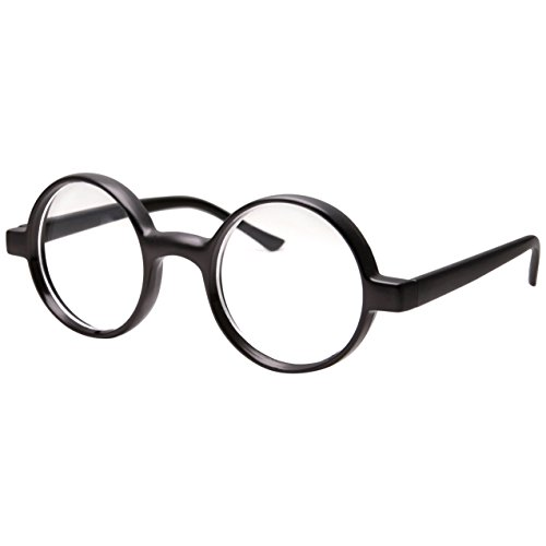 Kids Childrens Wizard Nerd Round Black Frame Glasses, Clear Lens (Age 4-12)]()