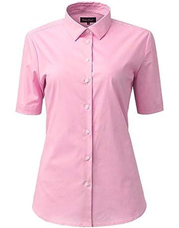 3bef2b2f2 Women's Blouse Plain Work Shirt, Short Sleeve 97% Cotton Slim Fit Solid  Button Down