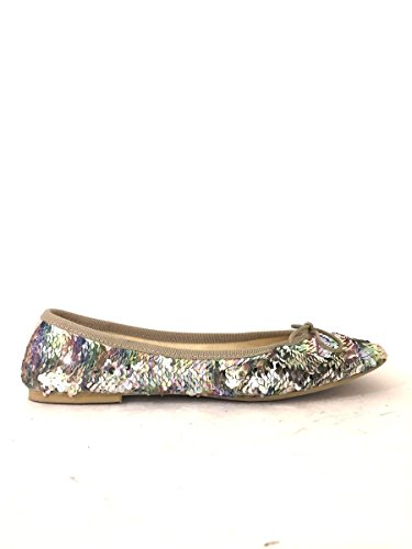 AZ00 eleganti MainApps Ballerine pailletes pelle 92 scarpe basse Argento in TwF667nHx
