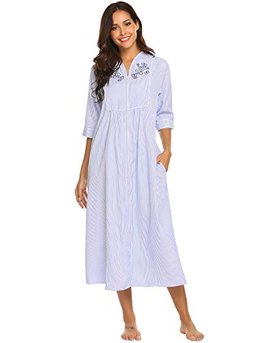 Ekouaer Nightshirts Women's Short Sleeve Pajama Dress Zip Front House Duster (Navy,S)