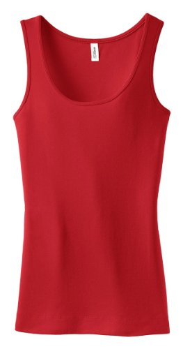 District Threads Junior Ladies Perfect Fit 1x1 Tank - Cherry Red - Large. DT235