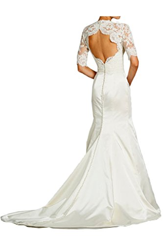 La_Marie Braut Edel Spitze Langarm Hochzeitskleider Brautkleider Brautmode meerjungfrau Figurbetont Damen Rock