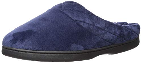 (Dearfoams Women's Darcy Microfiber Velour Clog with Quilted Cuff Peacoat Medium US)