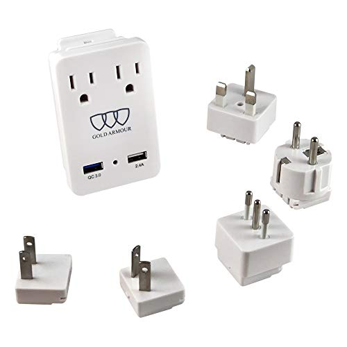 2000W International Travel Adapter Kit - AC Outlets + Quick Charge 3.0 and 2.4A USB Port with Worldwide Universal Wall Plugs for UK US AU Europe Italy Asia - Works for Hair Dryer & Hair Straightener by Gold Armour (Image #5)