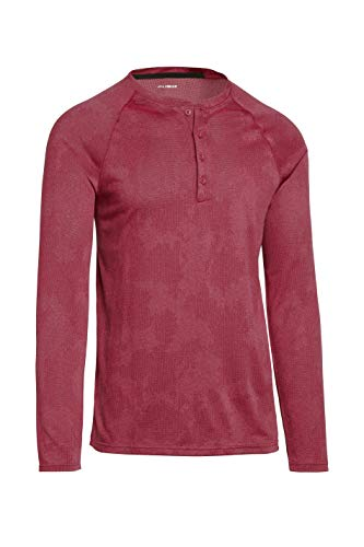 Mens Thermal Long Sleeve Henley - Dry Fit Crewneck Workout Shirt w/Buttons Crimson