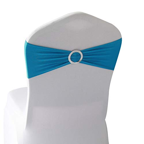 - Turquoise Spandex Chair Bands Sashes - 50 pcs Wedding Banquet Party Event Decoration Chair Bows Ties (Turquoise, 50 pcs)