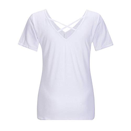 V Mode Femme Cou T Slim Casual Uni Fit Courtes lgant Jeune Blanc Classique Manche Haut Mode Et Shirts T Shirt Manches Fille Shirts Crossover Aq8zwqn1