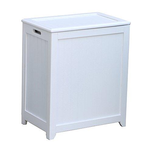Oceanstar RHP0109W Rectangular Laundry Wood Hamper, White Finished (Finished Hamper White Laundry)