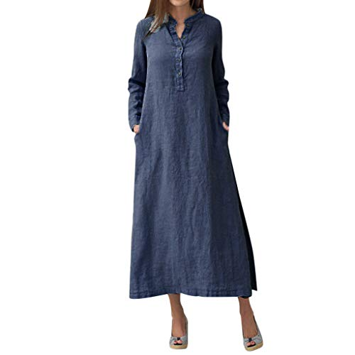 aihihe Button Down Dress for Womens Kaftan Cotton Linen Long Sleeve Solid Loose Casual Shirt Maxi Dress(Navy,S) -