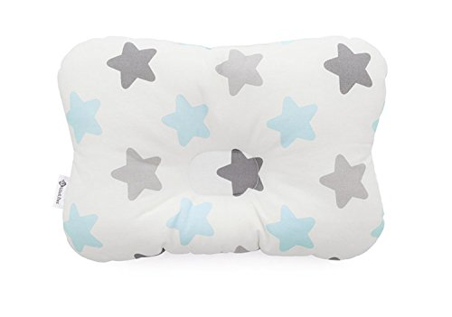 Baby Pillow For Newborn Breathable 3-Dimensional Air Mesh Organic Cotton, Protection for Flat Head Syndrome BabyStar Blue