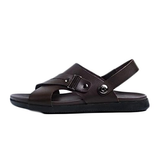 Brown Antideslizante Zapatos Ajustables Aire Abierta Cuero Playa Sandalias Cómodos De Al Libre Punta snfgoij De Para Deportes Verano Hombre qTxwpUB