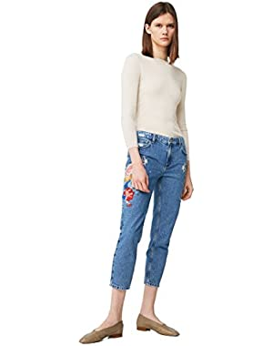 Mango Women's Embroidered Straight Crop Jeans