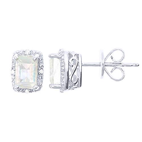 Emerald Cut Moonstone Diamond Halo Stud Earrings 925 Sterling Silver