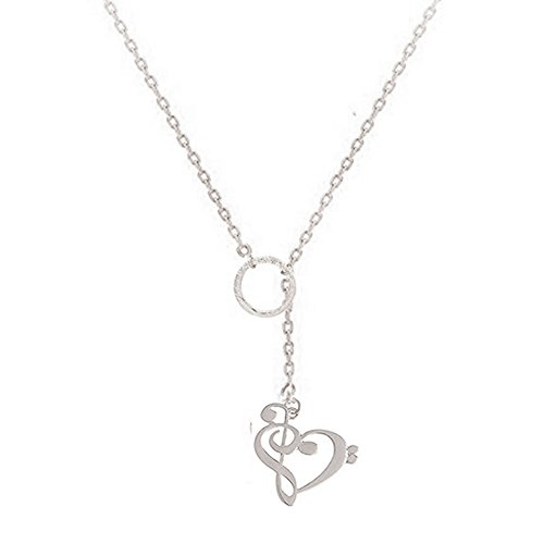 Dwcly Charm Tiny Circle Y Lariat Necklace Exquisite Love Heart Music Note Pendant Perfect Gift for Musician (Enamel Music Note)