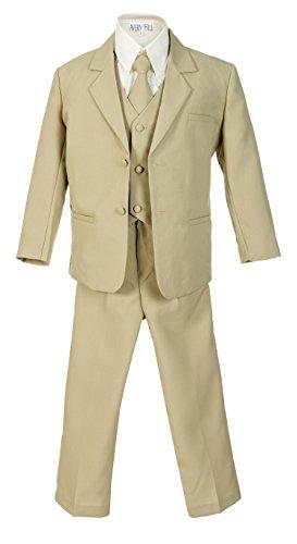 Avery Hill Boys Formal 5 Piece Suit Shirt Vest, Khaki, 4T ()