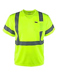 Hi Vis Pocket T Shirt Reflective Safety Lime Short Sleeve High Visibility Tee by WOODPECKER WORKWEAR (Large)