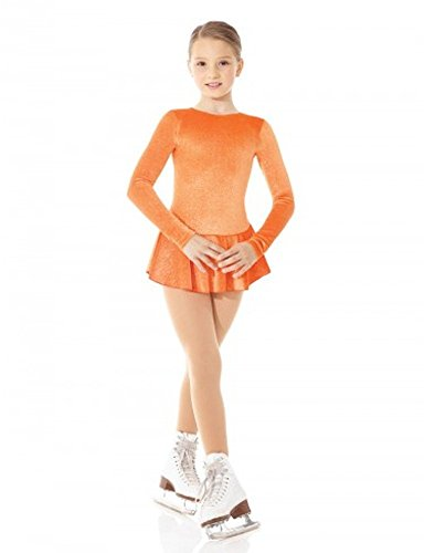 Mondor 2711 Orange Born To Skate Glitter Velvet Figure Skating Dress 8-10 by Mondor
