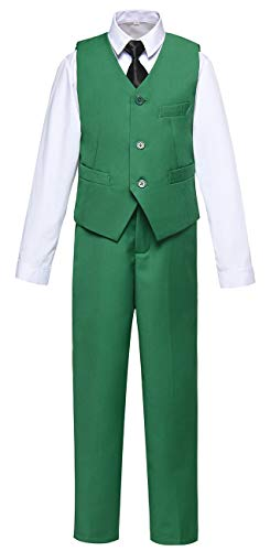 Boys Vest and Pants Set Kids Suit for Boy Formal Tuxedo Dresswear Outfit Green Size 7 by Visaccy (Image #7)