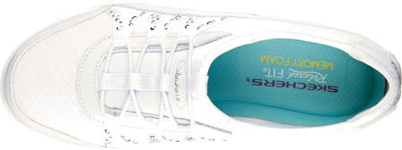SkechersBreathe-easy - Relaxation - Scarpe da tennis Low-Top donna, bianco (Glimmered Up/White/Silver), 42 EU B(M)
