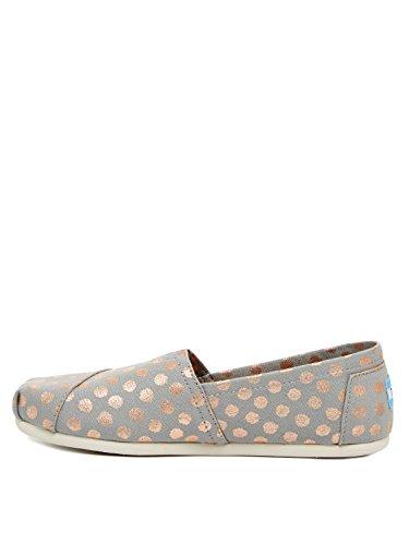 TOMS Women's Classics Flat Drizzle Grey/Rose Gold Foil Polka Dot Size 8.5 B(M) US (Women Canva Shoes)