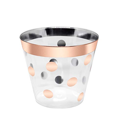 (Rose Gold Plastic Cups 9oz | Set of 60 | Fancy, Elegant & Clear Disposable Tumbler for a Party, Wedding, Bridal Shower, Baby Shower, Engagement Party, Birthday, Cocktail Party Celebration, Quinceanera)