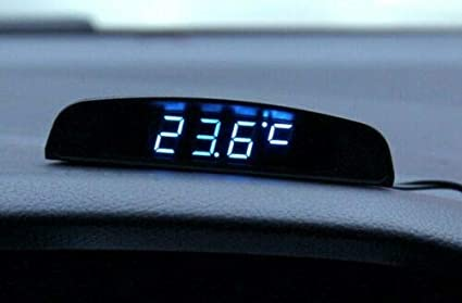 MASO Car Digital Clock 4In1 Date Clock Voltmeter Thermometer Voltage Monitor 12V Original Car Interior Exterior Multifunction Blue