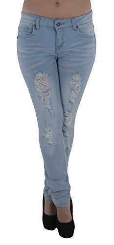 Style M482P - Plus Size Mid Waist Colombian Design Butt lift Ripped Skinny Jeans in Washed Light Blue Size ()