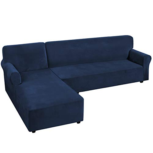 H.VERSAILTEX Thick Velvet Stretch L Shaped Sofa Cover 4-Seat Sofa Sectional Couch Cover 2 Piece Sofa Cover Plus Left Chaise Cover with Non Slip Straps, Soft, Comfy and Bouncy, Navy