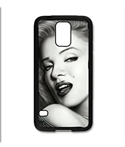 Samsung Galaxy S5 SV Black Rubber Silicone Case - Beautiful Painted portrait Marilyn Monroe