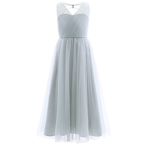 Amazon.com: iEFiEL Girls Cross V-Neck Tulle Flower Girl Dress Junior Bridesmaid Pageant Prom Long Gown: Clothing