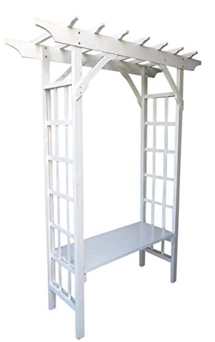 Arbor Seat - Master Garden Products South Arbor with Seat Painted White 64
