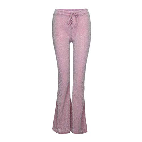 ANJUNIE Women Bell Bottom Long Pants Sequin High Waisted Clubwear Party Knit Trousers(Pink,XL)