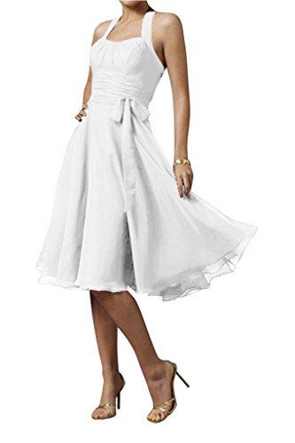 Modern Bride Knielang Schleife Weiß Neckholder Chiffon Partykleid Abendkleid Cocktailkleid Gorgeous 5U6gqw5