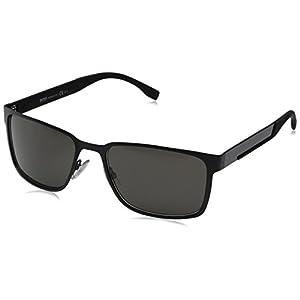 HUGO by Hugo Boss Men's B0638S Rectangular Sunglasses, Black Carbon, 58 mm