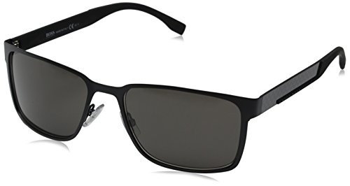 HUGO by Hugo Boss Men's B0638S Rectangular Sunglasses, Black Carbon, 58 mm