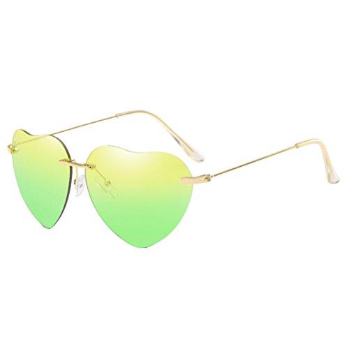 Des Armature Sans Mince Sunglasses Métal amp;green de Womens Fille Avec Monture Lunettes Qualité Cas Soleil en Zhhlinyuan Forme Plage Yellow Coeur de Femme qf6EZxw