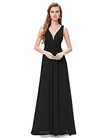 Ever Pretty Womens Elegant Empire Waist Double V Neck Maxi Dress 4 US Black