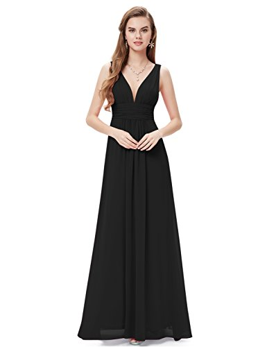Ever-Pretty Womens Maxi Ruched Long Casual Summer Maxi Dress 10 US Black ()